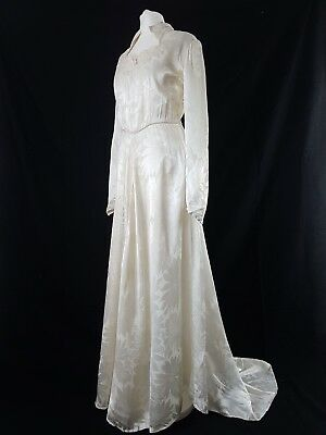 Vintage Wedding Dress 20s 30s Ivory Gatsby Silk Satin 50s Original Crochet Uk 12