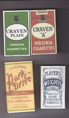 Set Of 4 Useable Ww2 British 10 Size Cigarette Packets  (Repro)
