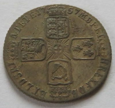 Britain 1757 George II Six 6 Pence - XF, Better Date/Grade British Coin (242138B