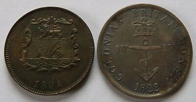 1822 Colonial Britain West Indies- VF + 1891 North Borneo 1/2 Cent - XF (242147B