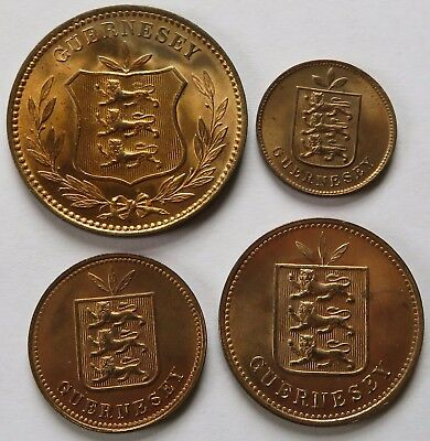 4 Guernesey Ch BU Doubles, 1889-H 8/4/2 + 1903-H One Dbl, British coins (242156B