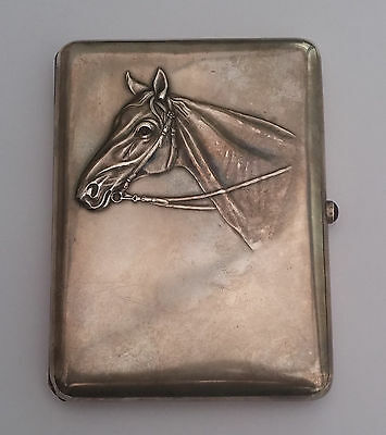 Imperial Russian Khlebnikov silver cigarette case with horse head engraving
