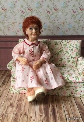 Ooak  12Th Scale  Miniature Dollhouse Grandma Character Doll (Peggypigtails)
