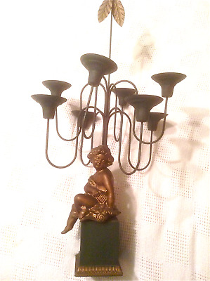 Candleabra w Cherub at Base, 8 Candle Arms, French-Style