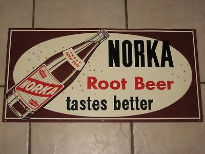 Vintage NORKA ROOT BEER Soda Pop Advertising SIGN - NICE