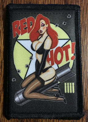 Red Hot Bomber Pin up Girl Nose Art Morale Patch Tactical Military Army Badge