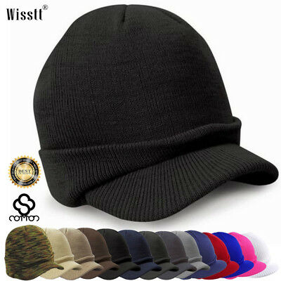 Men Visor Beanie Camo Ball Cap Hat Knit Ski Hunting Army Military Winter  Hats US d659056c7c6
