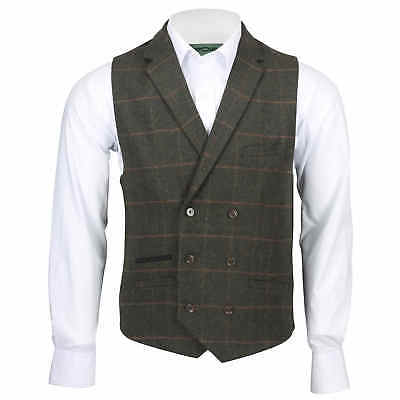 Mens Double Breasted Collar Waistcoat Green Wool Herringbone Tweed Check Vest