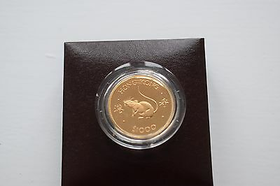 "1984 Hong Kong $1000 ""Year of the Rat"" Proof Gold Coin Box"