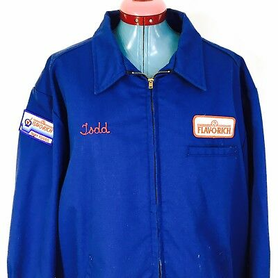 """Work Jacket Dairy Milk Man Flav O Rich Lined Blue """"Todd"""" XL Made In USA"""