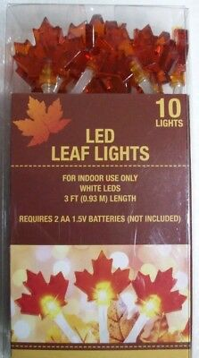 Fall Maple Leaf Shape 10 LED  String Lights Halloween Thanksgiving Indoor