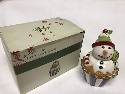 Fitz and Floyd Holiday Snowman Lidded Box-Christmas Confections