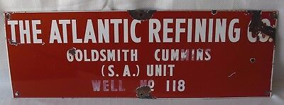 MUST SEE Vintage Porcelain Sign - ATLANTIC REFINING COMPANY Gas & Oil