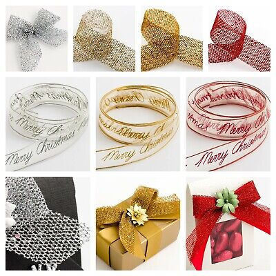 Open Mesh Glitter Ribbon Sparkly Tying Wreath Tree Christmas Decoration
