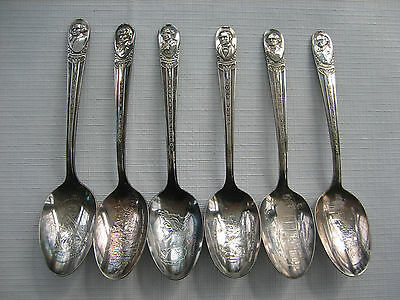 6 Vintage WM ROGERS Silver Plate Presidents Commemorative Collector Spoons