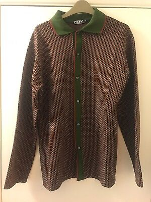 DEAD STOCK Vintage 60s / 70s Made In England Long Sleeve Shirt Polo Green Red