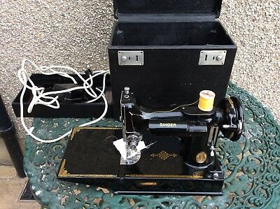Vintage Singer 221K Sewing Machine Complete with Box- Needs a Service
