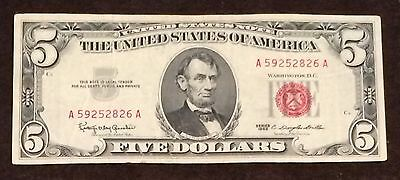 1963 Five Dollar Bill Red Seal Note Randomly Hand Picked VG - Fine FREE SHIPPING