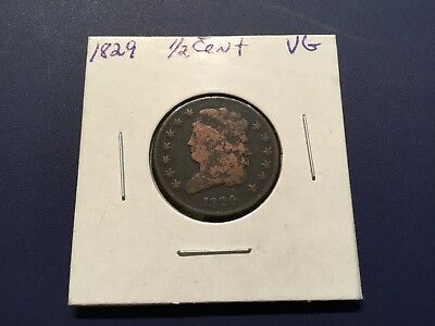 1829 1/2C Classic Head Half Cent Very Good Details