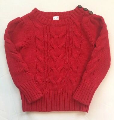 Old Navy Toddler Girl Red Cable Knit Sweater, Sz 2T