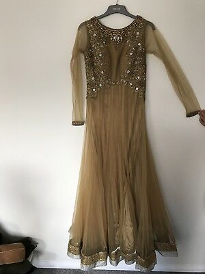 Gold Net Embroided Anarkali Dress