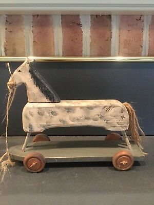 Primitive style vintage toy WOODEN  HORSE on wheels