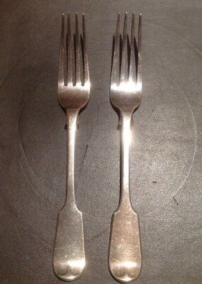 Antique Solid Silver Table Forks - 19th Century - OAK TREE Crest