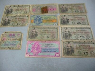 11 Military Payment Certificates WWII some are different series numbers