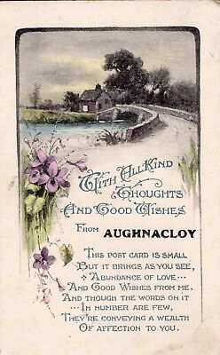 Kind Thoughts & Good Wishes From Aughnacloy Co. Tyrone Ireland W & K Postcard