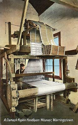 A Damask Napkin Handloom Weaver Warringstown Co. Down Ireland Irish Postcard