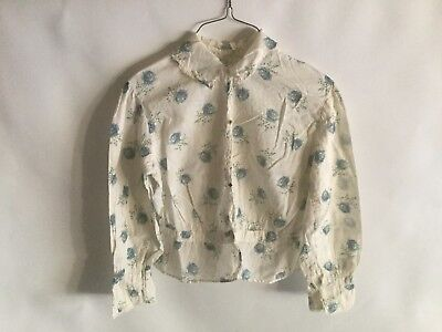 1900s True Antique EDWARDIAN Over Shirt Long Sleeve Floral Starched