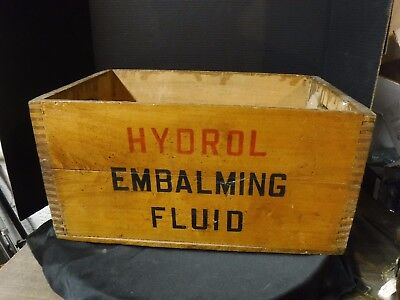 NICE Antique HYDROL Embalming Fluid WOOD CRATE  Bottle Funeral Vintage Oddities