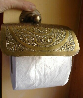 Moroccan tarnished brass hand engraved wall mounted toilet roll holder