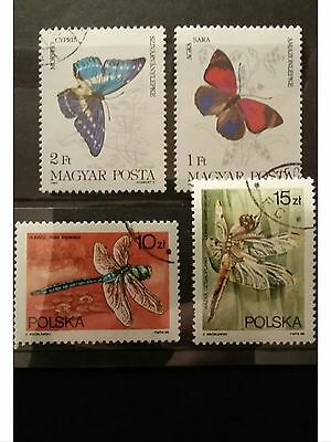 Insects & Bugs Animal Postage Stamps - Butterflies Dragonflies