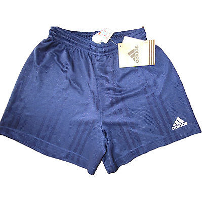 New ADIDAS Vtg Oldschool Shiny Running Gym Football Shorts Blue sz 128 cm 8 yrs