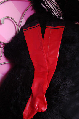 Rubber Latex Stockings Red Black Fetish Gothic Halloween Size Small
