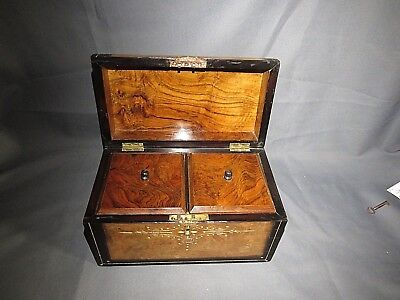 AN ATTRACTIVE LARGE 19th CENTURY VICTORIAN DOME WALNUT TEA CADDY