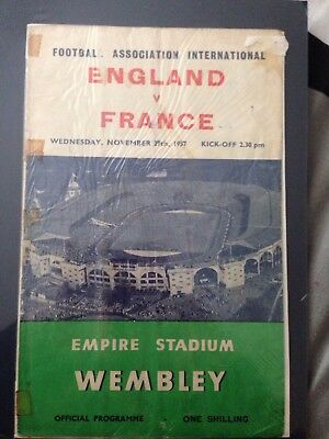 England Vs France Football Programme 1957