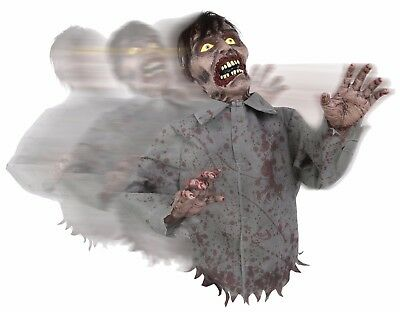 Animated Bump and Go Zombie  Sound Prop Halloween Decor Poseable Arms