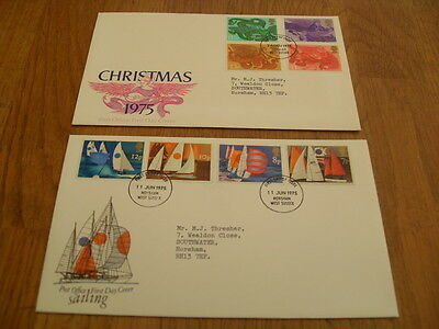 England  F-D Covers-Sailing 1975 / Christmas 1975