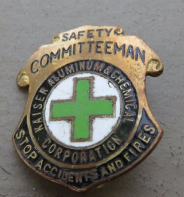 Vintage Kaiser Aluminum & Chemical Safety Committeeman Brooch Pin Badge