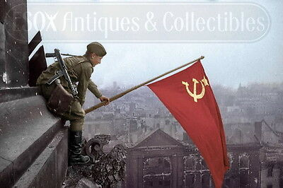 Soviet flag Reichstag Berlin May 1945 photo photograph 4x6 colorized