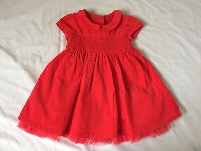 M&S red CORD SMOCKED PETTICOAT DRESS Christmas party 6-9 girl clothes xmas
