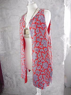 Vintage 60s Red Paisley Mod Waistcoat Tunic Top Med (12-14) Retro Scooter Girl