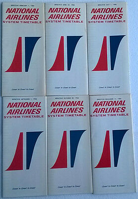 National Airlines timetable lot of 6 1966 complete year [4094]