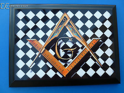 Masonic Wood Base Plaque - Square & Compasses with G on Chequered Pavement