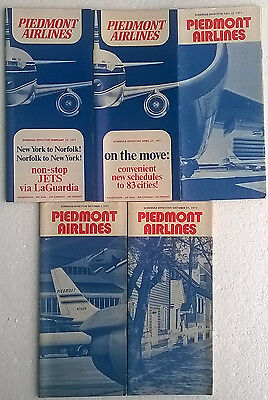 Piedmont Airlines timetable lot of 5 1971 complete year [4094]
