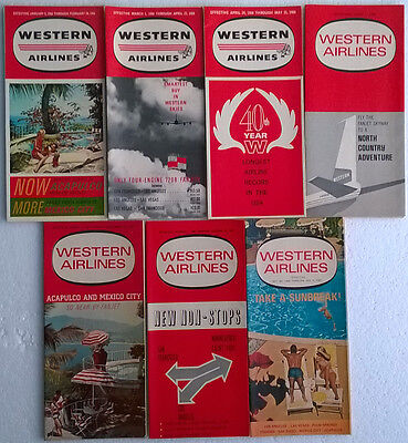 Western Airlines timetable lot of 7 1966 complete year [4111]