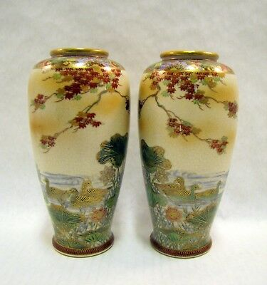 Pair Meiji Era SATSUMA VASES Signed AUTUMN TREES Water DUCKS Lotus EXEMPLARY