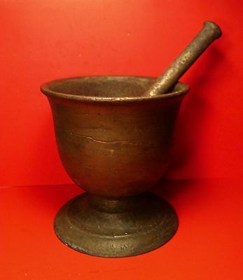 Antique 1800's LARGE Cast Iron  Mortar & Pestle Drug Druggist Chemist Apothecary